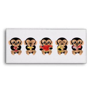 Monkeys eating fruits envelope