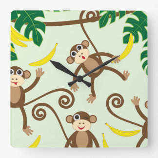 Monkeys Hanging Out Square Wall Clock