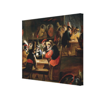 Monkeys in a Tavern, detail of the card game Canvas Print