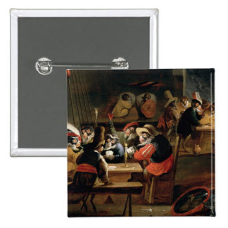 Monkeys in a Tavern, detail of the card game Pinback Button