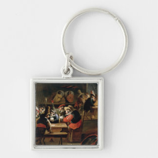 Monkeys in a Tavern, detail of the card game Silver-Colored Square Keychain