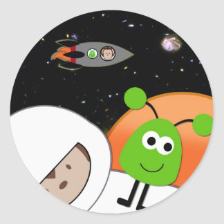 Monkeys in Space Aliens Floating Classic Round Sticker