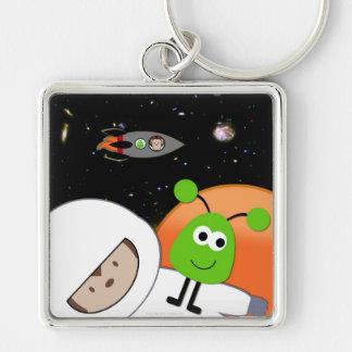 Monkeys in Space Aliens Floating Keychain