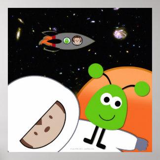 Monkeys in Space Aliens Floating Poster