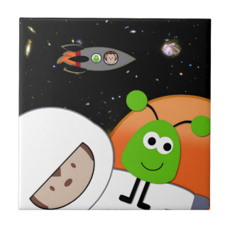 Monkeys in Space Aliens Floating Small Square Tile