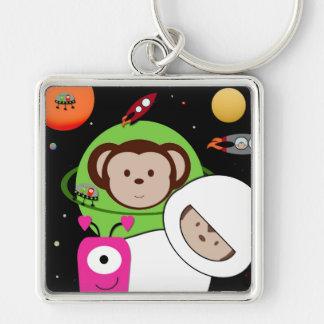 Monkeys in Space Aliens Planet Keychain