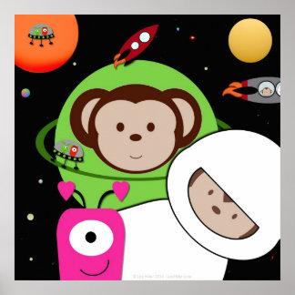 Monkeys in Space Aliens Planet Poster