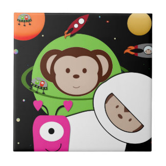 Monkeys in Space Aliens Planet Small Square Tile