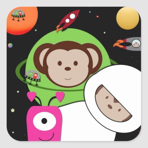 Monkeys in Space Aliens Planet Square Stickers