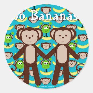 Monkeys in Space Go Bananas Classic Round Sticker
