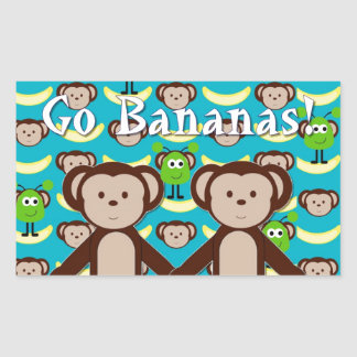 Monkeys in Space Go Bananas Rectangular Sticker