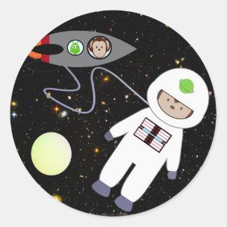 Monkeys in Space Walk Aliens Classic Round Sticker