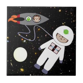Monkeys in Space Walk Aliens Small Square Tile