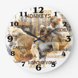 Monkeys Large Clock