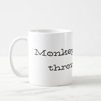 Monkeys like to throw poop classic white coffee mug