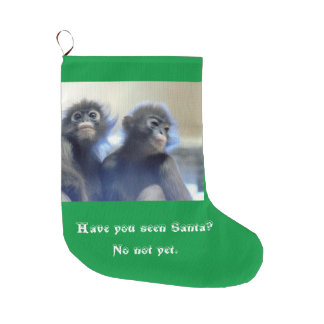Monkeys Looking for Santa Large Christmas Stocking