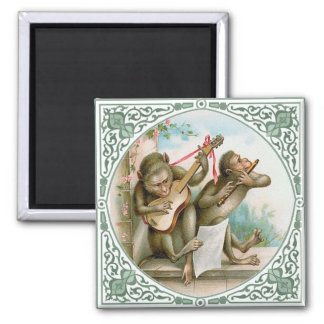 Monkeys Making Music 2 Inch Square Magnet