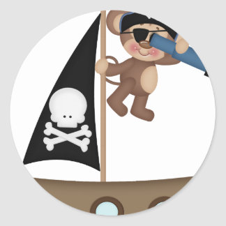 Monkeys of The Caribean pirates Classic Round Sticker