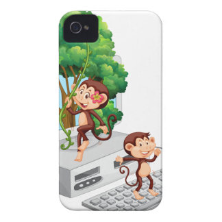 Monkeys playing and eating on computer screen iPhone 4 cover