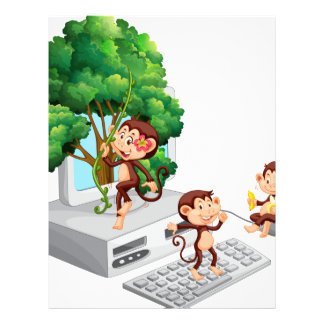 Monkeys playing and eating on computer screen letterhead