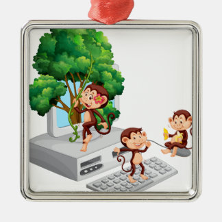Monkeys playing and eating on computer screen metal ornament