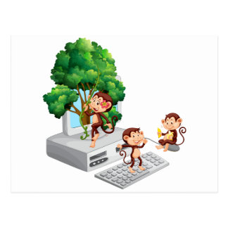 Monkeys playing and eating on computer screen postcard