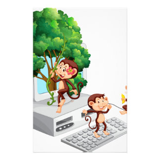 Monkeys playing and eating on computer screen stationery