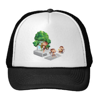 Monkeys playing and eating on computer screen trucker hat