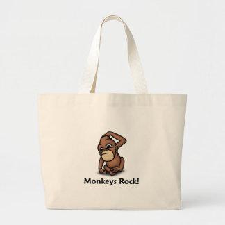 Monkeys Rock! Large Tote Bag