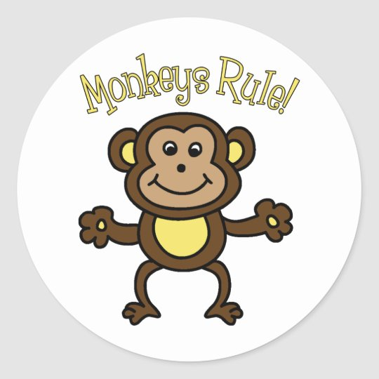 Monkeys Rule Classic Round Sticker