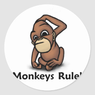 Monkeys Rule! Classic Round Sticker