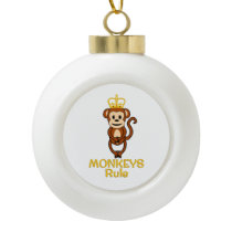 Monkeys Rule Golden Crown Ceramic Ball Christmas Ornament