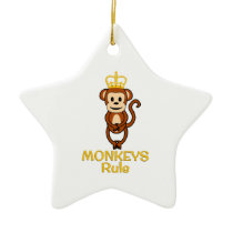 Monkeys Rule Golden Crown Ceramic Ornament
