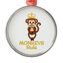 Monkeys Rule Golden Crown Metal Ornament