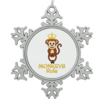Monkeys Rule Golden Crown Snowflake Pewter Christmas Ornament