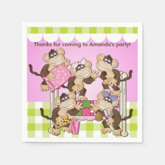 Monkeys Slumber Party Birthday Paper Napkins