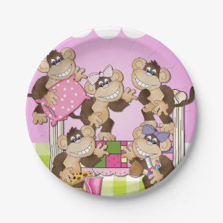Monkeys Slumber Party Birthday Paper Plate