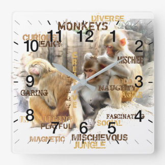 Monkeys Square Wall Clock