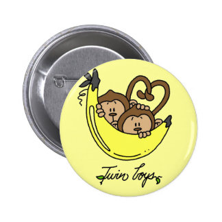 Monkeys Twin Boys Tshirts and Gifts Button