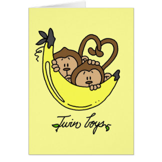 Monkeys Twin Boys Tshirts and Gifts Card