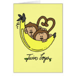 Monkeys Twin Boys Tshirts and Gifts Greeting Card