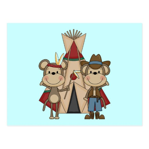 Monkeys Wild West Tshirts and Gifts Postcards