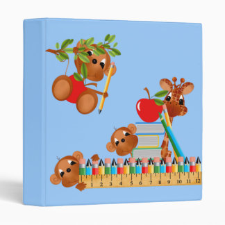 Monkeys With Apple Books Pencils and Ruler 3 Ring Binders