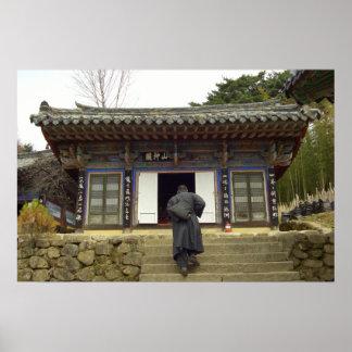 Monks at palgong mountain, Daegu South Korea Poster