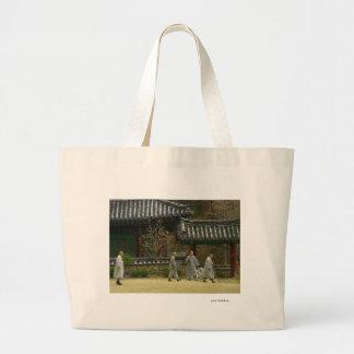 Monks at palgong mountain, South Korea Canvas Bag