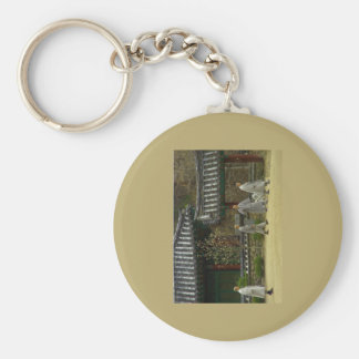 Monks at palgong mountain, South Korea Basic Round Button Keychain