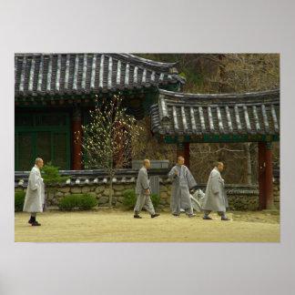 Monks at palgong mountain, South Korea Poster