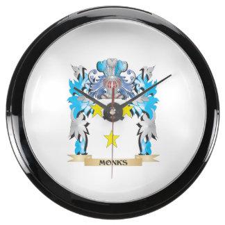 Monks Coat of Arms - Family Crest Aqua Clocks
