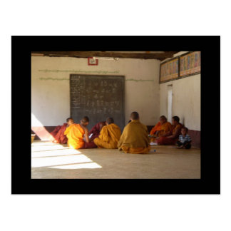 Monks in class postcard
