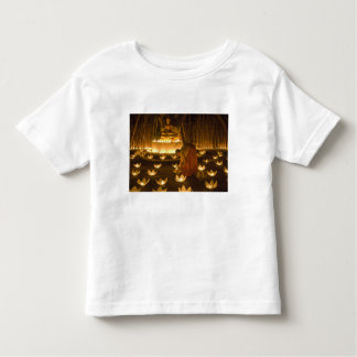 Monks lighting khom loy candles and lanterns for toddler t-shirt
